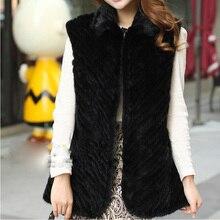 Hot Sale 2016 New Spring Natural brown black genuine real women knitting mink fur vest Jackets Waistcoats sleeveless Outwear