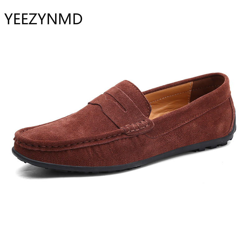 Men Casual Shoes Fashion Male Shoes Suede Leather Men Loafers Leisure Moccasins Slip On Men's Driving Shoes Large Size 6.5-11 #1