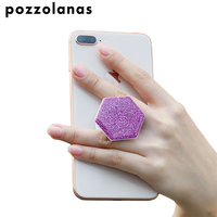 Pozzolanas Glitter Hexagon Mobile Phone Holder Stand For Iphone For Samsung For HUAWEI For Xiaomi Popular with Carhook Universal