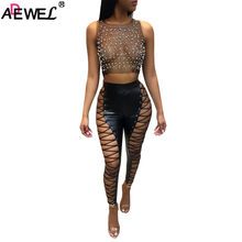 ADEWEL Sexy Crop Top Black White Summer Women Top 2019 Glitter Pearls Sheer See though Mesh Tank Top Sleeveless O Neck Top Shirt white delicate sheer lace crop top