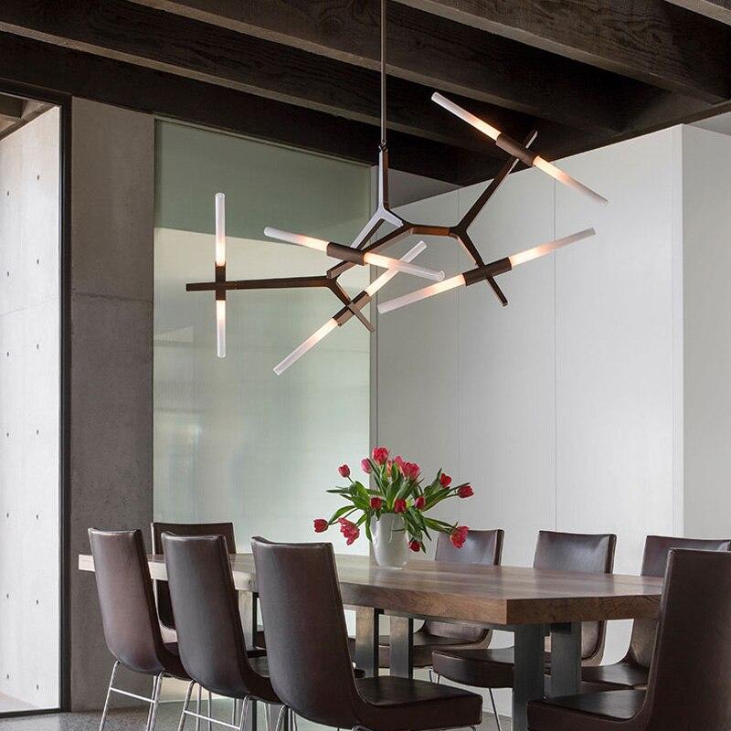 Nórdico Pós-Moderno Dimmable Ouro Preto Espinha Luminária Dispositivo Elétrico Da Lâmpada de Luz Para A Sala de estar da Sala de Jantar de Luxo Enforcamento