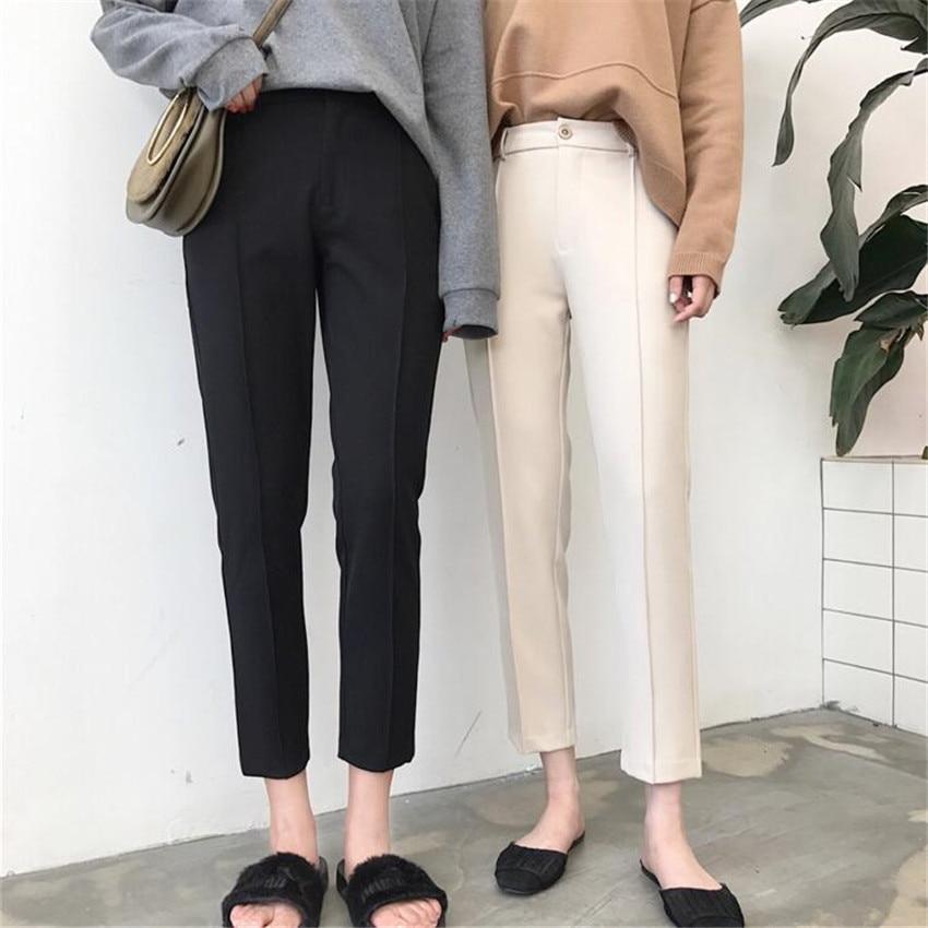 MLCRIYG New Women's straight pipe leisure suit pants female temperament all-match slim nine female trousers