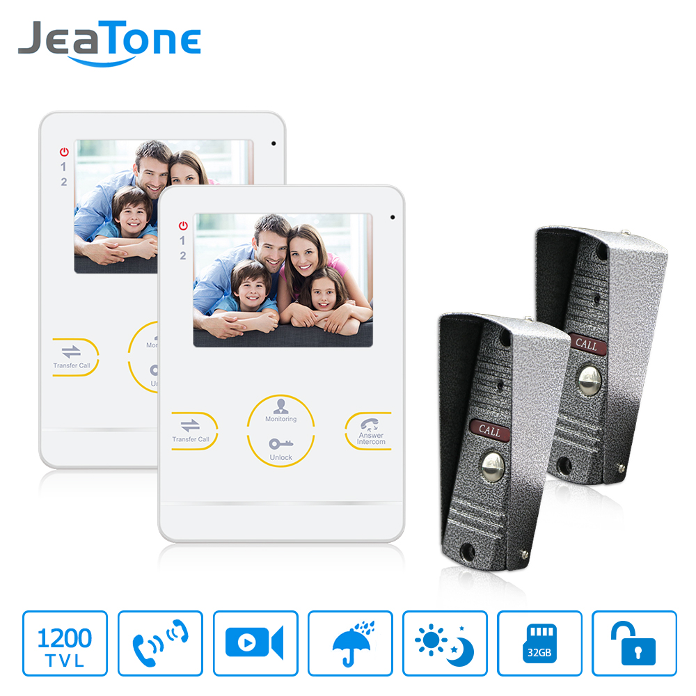 JeaTone 4  Inch TFT Wired Video Door Phone Intercom Security Camera Doorbell Home Security Camera Monitor Doorbell Intercom jeatone video phone home intercom audio doorbell 3 7mm pinhole cameras with 4 indoor monitor screen wired office intercom