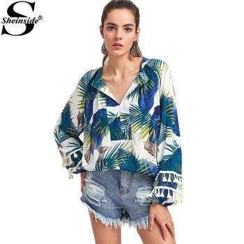 Sheinside Jungle Print Shirt V-Neckline Tassel Trim Blouse 2017 Women Casual Boho Spring Tops Fashion Long Sleeve Tunic Blouse