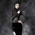 PUNK RAVE Gothic black  full sleeve turtleneck flocking t-shirt with see-through lace T-329