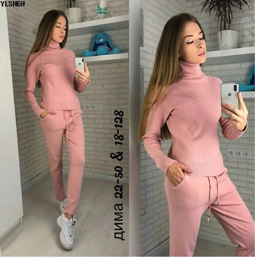 2 Two Piece Set Sweater Women Autumn Winter Knitted Tracksuit Turtleneck Sweaters Suit Outfits Knit Tops + Pants Matching Sets 02