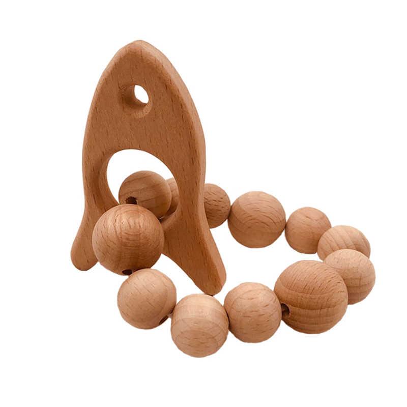 Koralik bukowy ząbkowany pierścień zestaw nieobrobiony buk gryzak z organicznym drewnem zabawka w kształcie zwierzątka drewniana bransoletka dziecięca drewniana bransoletka z gryzakiem