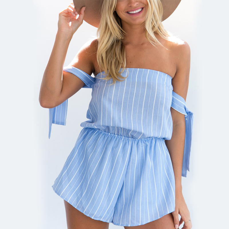 Off Shoulder Stripe Elegant Jumpsuit Romper Strap Backless Bow Overalls Sexy Summer Beach Playsuit Women Outfit