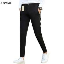 Autumn 2017 Korean Mens Dress Pants Formal Business Casual Slim Fit Black Gray Skinny Suit Pants Men Trousers Ankle Length Pants
