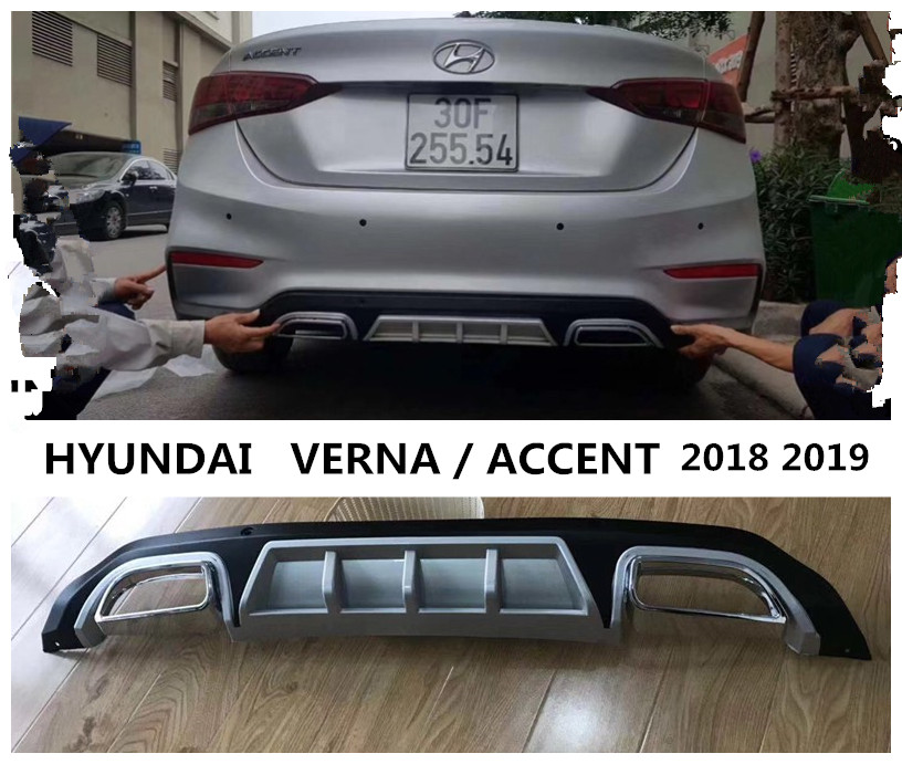 Car Rear Lip Spoiler For HYUNDAI VERNA / ACCENT 2018 2019 High Quality PP ABS Bumper Diffuser Auto Accessories