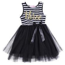 2019 New Summer Dress for Girls Children Sleeveless Striped Tulle Dress Girls Party Birthday Cute Princess Kids Girls Dresses cute sleeveless scoop neck striped flower embellished dress for girls