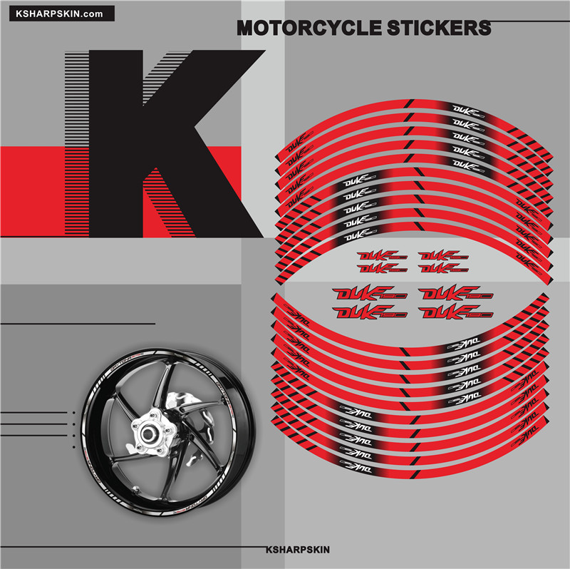 New Motorcycle tyre <font><b>Stickers</b></font> inner wheel reflective decoration decals for <font><b>KTM</b></font> DUKE790 <font><b>duke</b></font> <font><b>790</b></font> image
