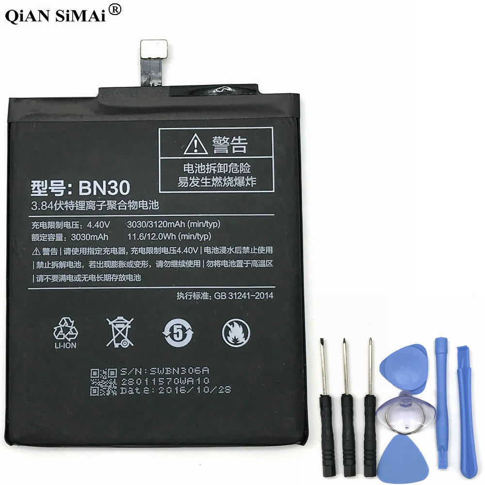 New High Quality BN30 3030mAh Battery With Tools For Xiaomi Redmi 4A Phone