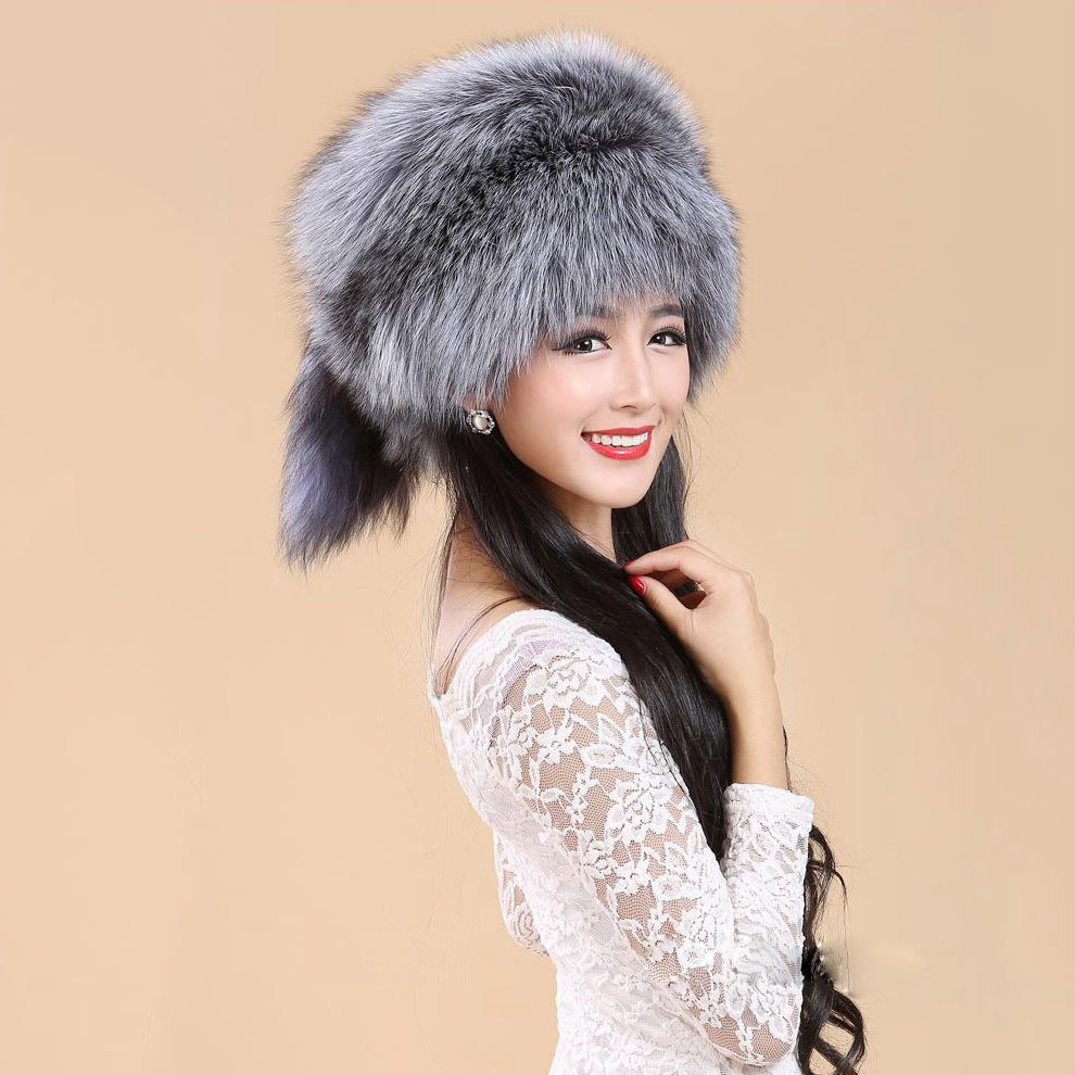 New Best quality New Natural Real Silver Fox Fur Hats for Women Winter Luxury Natural White Caps Female Thick Russia Style Hats