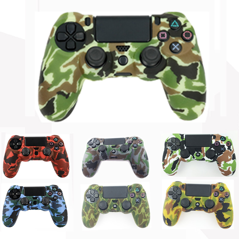Camo Silicone Gel Guards sleeve Skin Grips Cover Case Caps For Playstation 4 PS4 Pro PS4 Slim Gamepad