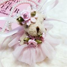 Korea Cloth Yarn Pearl Bear Kids Necklace & Pendant Baby Chain Collars Fashion Jewelry For Children Girl-SLCGNL001F