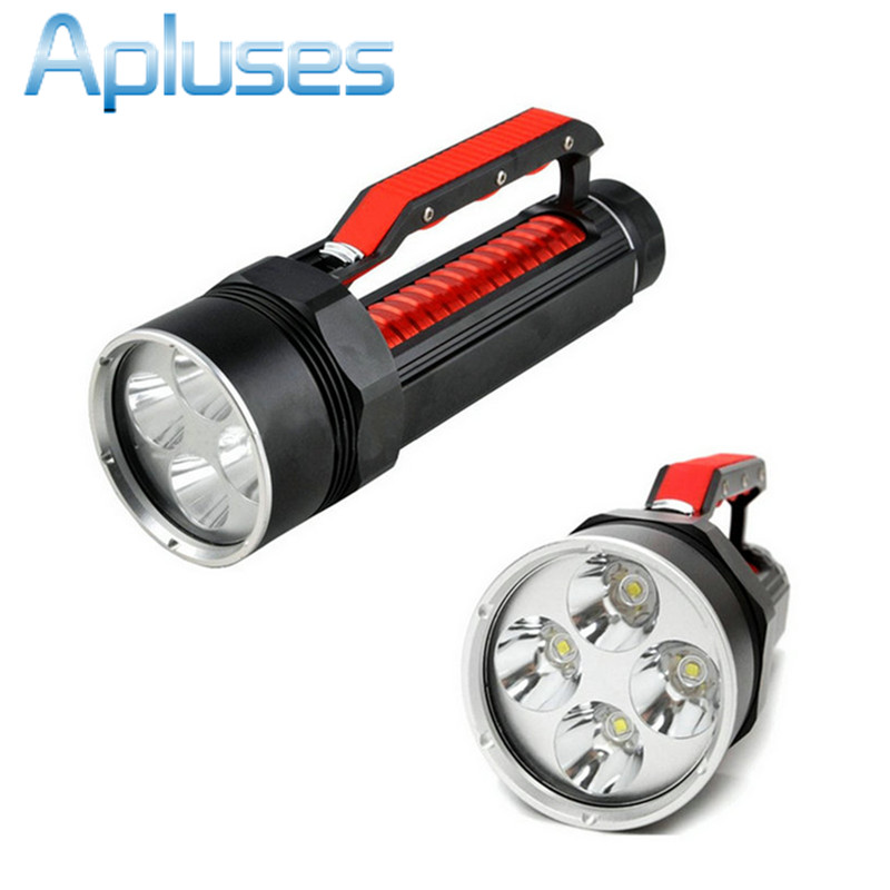 hand lamp Professional Diving Up to 200m depth 4x CREE XML 8000Lm L2 LED Diving Light Flashlight magnetic control switch Torch