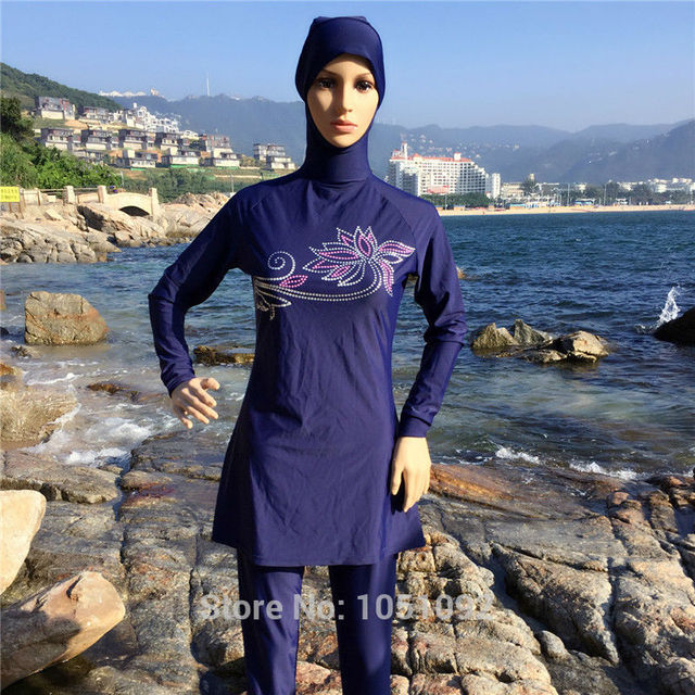 aed72c64ea 5PCS Modest Swimwear Full Body Long Sleeve Conservative Bathing Suit Women  Traditional Arabic Clothing Muslim Islamic