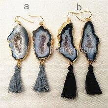 WT E291 Gorgeous design Natural slice geode stone earrings,Attractive tassel charm stone earrings