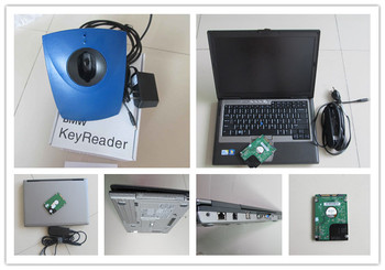 auto key programmer transponder tool for bmw key reader with laptop d630 computer ready to work  super