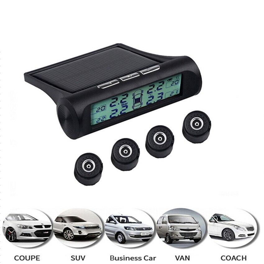 Solar Power USB TPMS Car Tire Pressure Monitoring System digital Display 4 External Sensors air leak alarm Temperature Warning