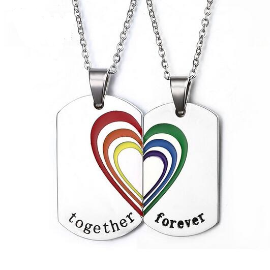2 Colors Rainbow Heart Puzzle Necklaces For Couples Stainless Steel Gay Pride Pendant Necklace LGBT Jewelry 2Pcs