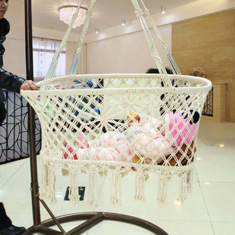 Nouveau-né Bébé D'été Suspension Sype Coton Corde Manuel Environnement Berceau Panier Armure Conception
