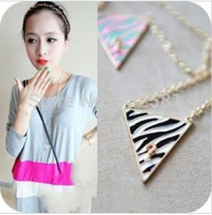 N452 New style Free Shipping Question Mark Triangle Wild Zebra Stripes Drip Long Necklaces Pendants Accessories Jewelry