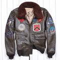 Hot Men's Classical Genuine Leather Motorcycle Leather Jacket Tom Cruise Top Gun Air Force jaqueta de couro EU size M-XXL