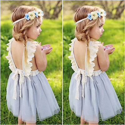 Princess Girls Summer Dress 2017 Sleeveless Backless Back Bow Tutu Ball Gown Lace Party Dresses Children Sundress 2-7Y m mism 2pcs new rhinestone bead hair elastic band hair accessories rubber tie gum ponytail holder scrunchy for women girls