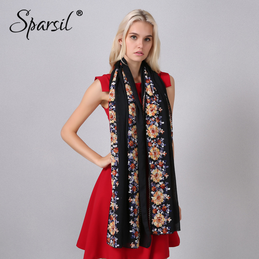 Sparsil Women Embroidery Cotton Linen Scarf Floral Pashmina Big Size 180*90 cm Shawls Soft Hijab Scarves Ladies Wraps