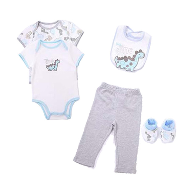 Baby Sets 5 pcs/set Baby Boys Girls Short Sleeved Bodysuits Cotton Toddler Jumpsuit Baby Girls Newborn Pants Overall Clothes V20