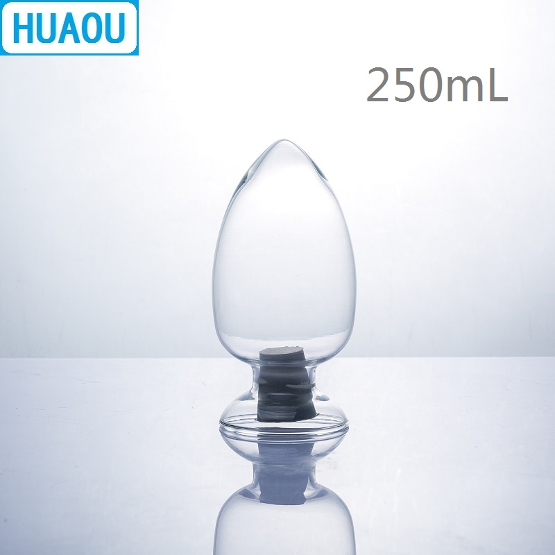 HUAOU 250mL Glass Cone Bottle Seed Specimen Display Conical Heart Form With Rubber Stopper Laboratory Chemistry Equipment