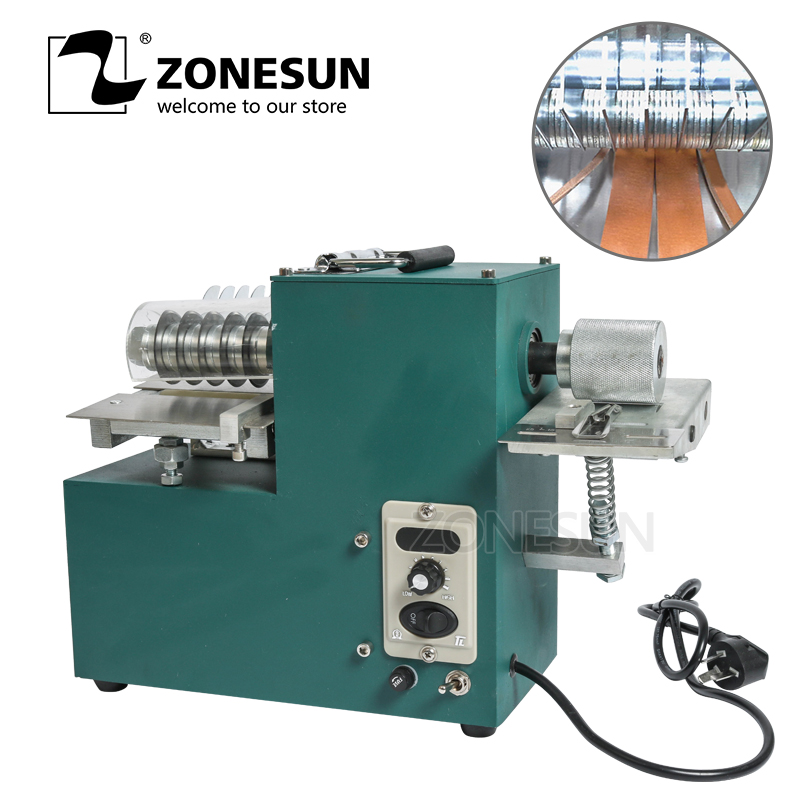 ZONESUN V04 Leather Strip Belt Strap Cutting Machine With Edge Folding Leather Laminating Machine Handmade Leathercraft Cutting