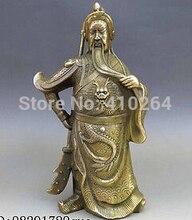 free shipping 8″ Chinese Brass Copper Feng Shui Guan Gong Buddha Guan yu Buddhism Statue