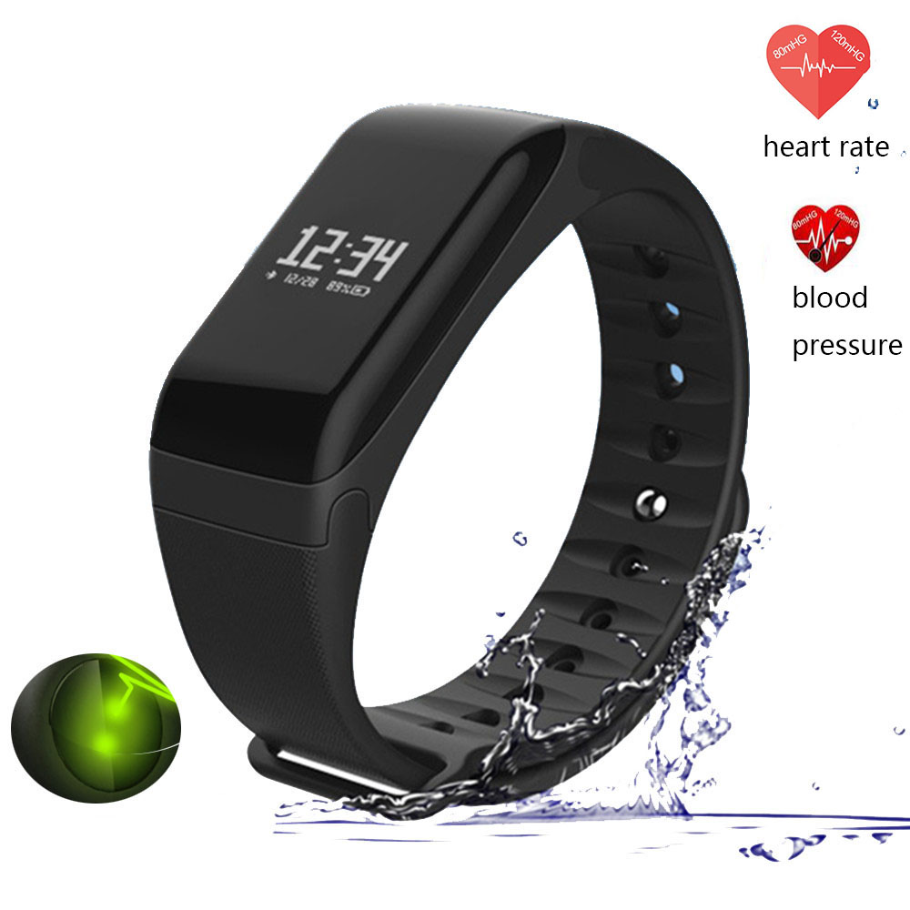 F1 Heart Rate/Blood Pressure Monitor 0.66inch Smart Watch fitness Wristband Tracker Bracelet Band for Iphone PK Xiaomi mi 2 3