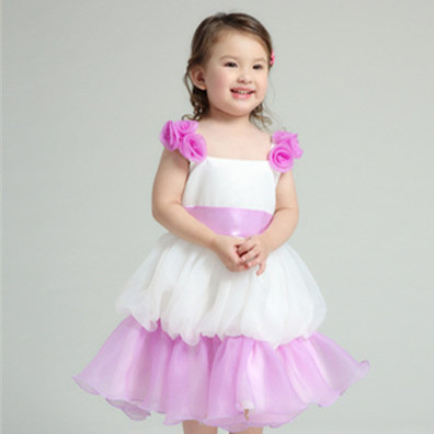 Brand New Vintage Girl Dress Summer Style Purple White Sleeveless Girls Vestidos 2017 Fashion Kids Clothes AKF164046