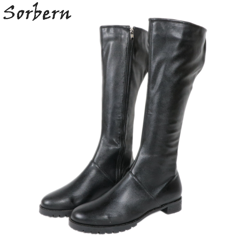 Sorbern Black PU Womens Designer Boots Plus Size Custom Color Flat Boots For Ladies Round Toe 2019 Womens Boots Botas De Mujer Sorbern Black PU Womens Designer Boots Plus Size Custom Color Flat Boots For Ladies Round Toe 2019 Womens Boots Botas De Mujer