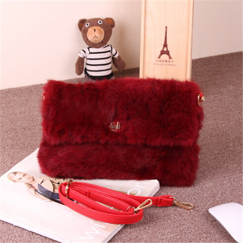 High Quality 2015 New Genuine Leather Fur Handbag REAL Rabbit Fur Bags Fashion Women's Lady Luxury cover Bag Evening Party Cluth aiweiyi womens high quality genuine leather real fur 100
