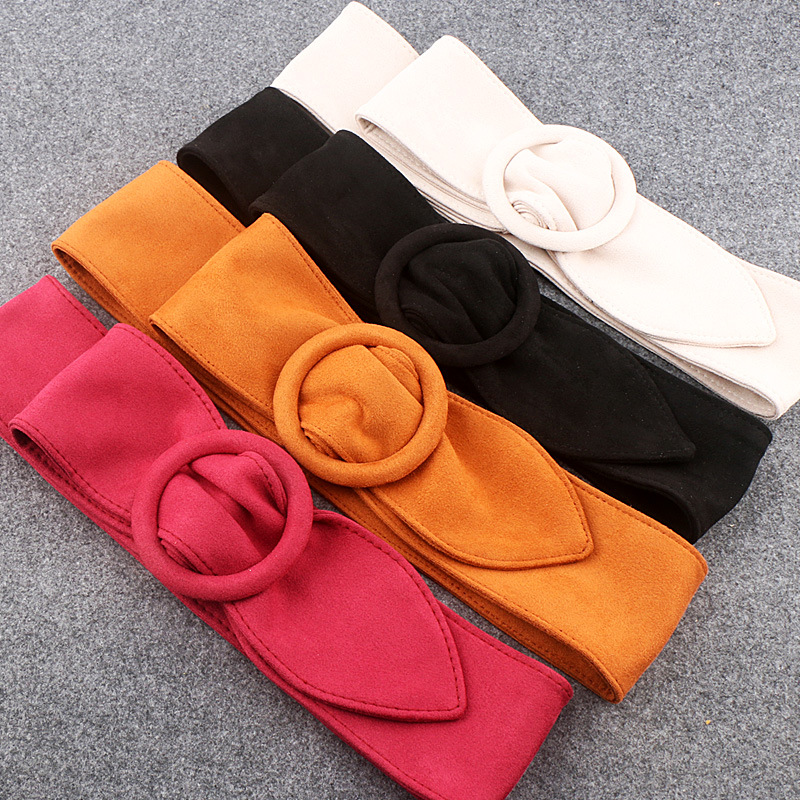 The Girl Round Button Suede Flannel Belt Women's Soft Face Width Decoration Strap Designer Velvet Fashion Belts Cinturon
