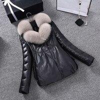 2017 Nuevas mujeres de invierno caliente abajo chaqueta de plumas Verdadera parket cuellos de piel de zorro abrigo de cuero de piel de oveja hembra más tamaño PC002