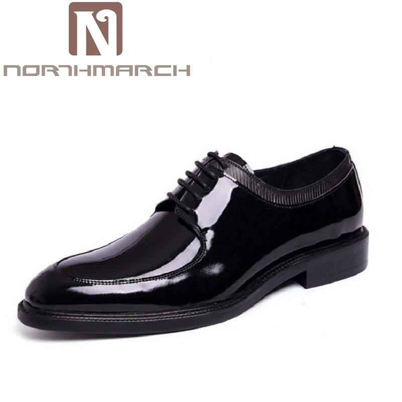 NORTHMARCH Brand Genuine Patent Leather Shoes Men Pointed Toe Oxfords Business Office Dress Shoes Scarpe Classiche Uomo Punta каталог punta