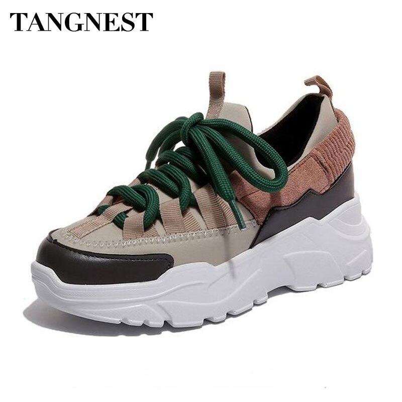 Tangnest Nuevo 2018 otoño plataforma de zapatos de mujer de cuero de gamuza de zapatillas de deporte casuales aumento de altura zapatos ligeros XWC1427