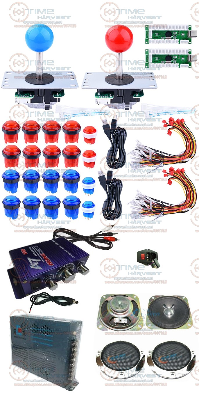 Arcade Joystick DIY Kits Set with Zero Delay LED USB Encoder Long shaft Joystick LED Illuminated Push Button Wire for Game MAME new led arcade game diy parts 2 x 5pin 5v 2 4 8 way led illuminated joystick 16 x led illuminated push button for mame game