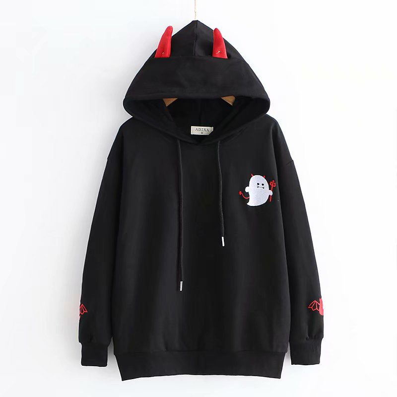 Harajuku Hoodies Girl Little Devil Horns Gothic Hooded Sweatshirts Women Autumn Loose Lolita Pullovers Tops Black White