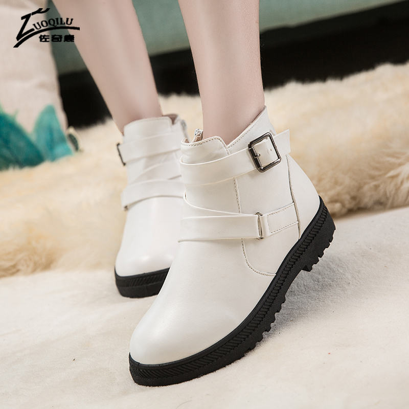 Women Boots 2017 Winter Boots Women PU Leather Warm Fur Ankle Boots Winter Shoes Woman Botas Mujer Bota Feminina