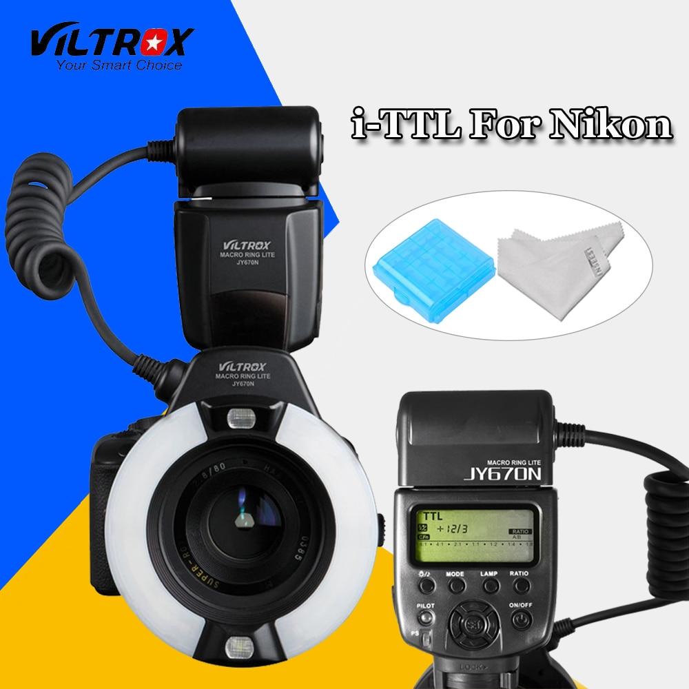 Viltrox JY-670N DSLR Camera Close-Up LED TTL Macro Ring Light Flash Speedlite FlashLight for Nikon 7500D 5600D 5500D 3400D 760D skyblue mk 14ext 2 0 lcd 9w 5500k 5500lm led profession ttl macro ring flash light for nikon dslr