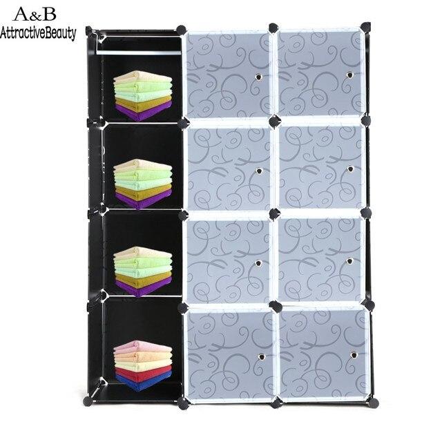 12 Кубики Складной Сочетание Шкаф Портативный ПП Материала Гардероб Для Хранения Организатор Шкаф Вешалка Черный