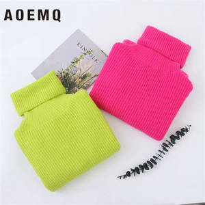 AOEMQ Autumn Winter Long Knit Loose Pullover Sweater Female