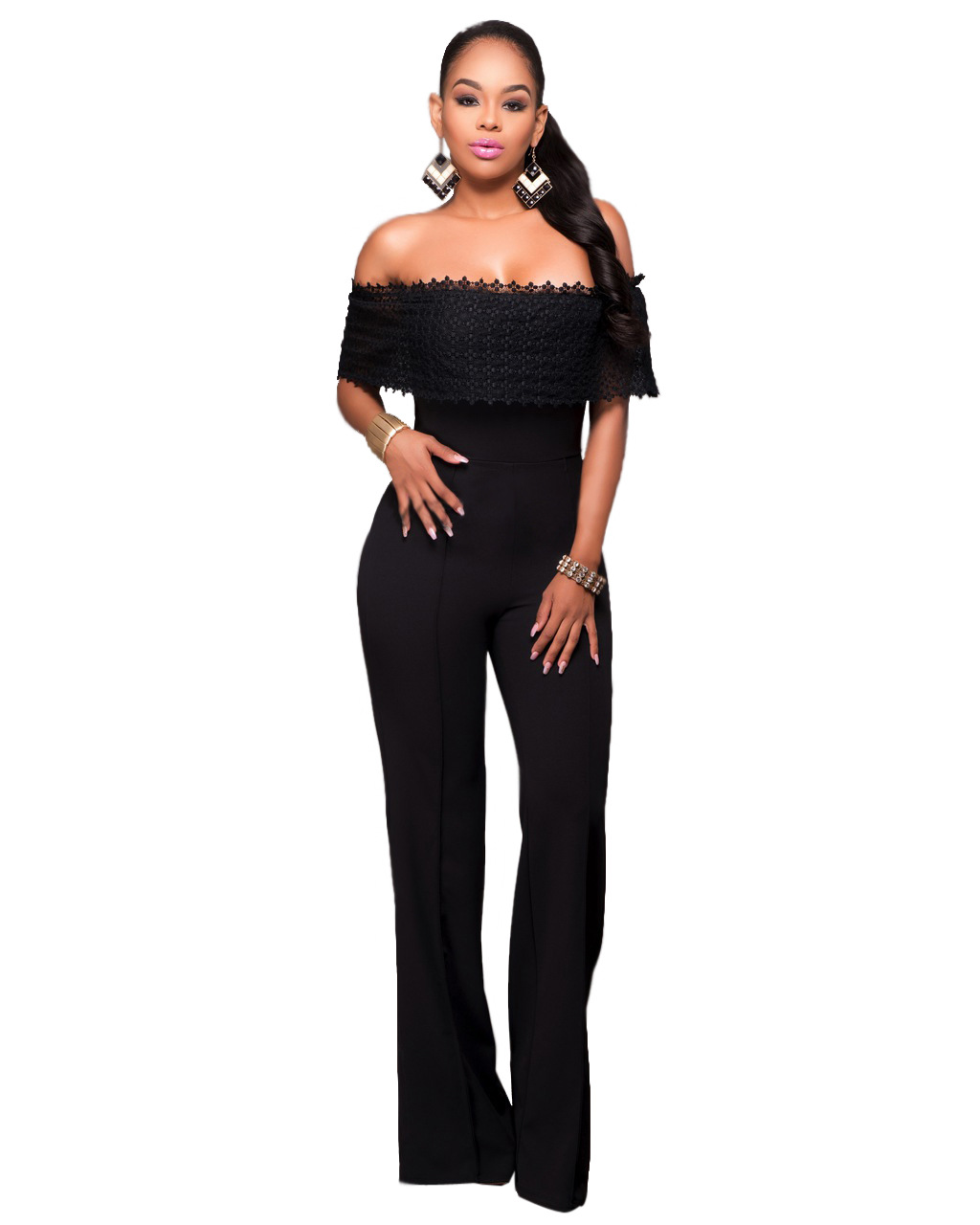 abc6ba99477 Sexy V Neck Pleated Waist Rompers Womens Jumpsuit Plus Size Loose Overalls  Black Red Short Sleeve Playsuit Combinaison Femme new-in Jumpsuits from  Women s ...